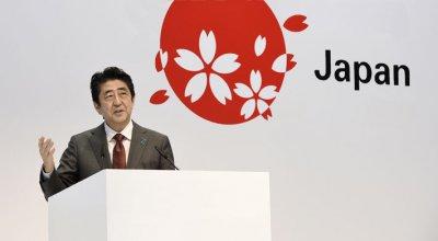 Shinzo Abe, Premierminister von Japan, bei seiner Eröffnungsrede auf der CeBIT 2017.